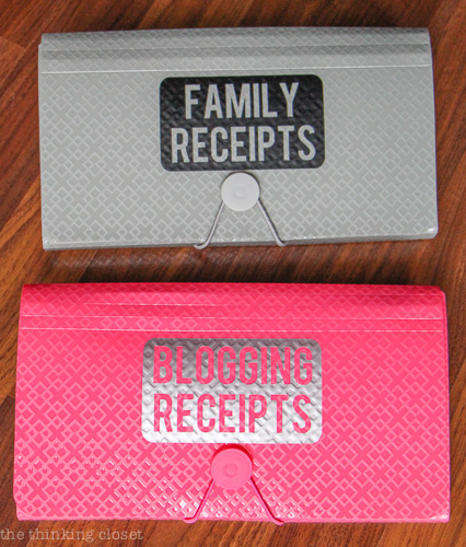 Stay organized this year with custom labeled Receipt Organizers (with 12 month dividers inside!).  Gotta love the $1 bin at Target!