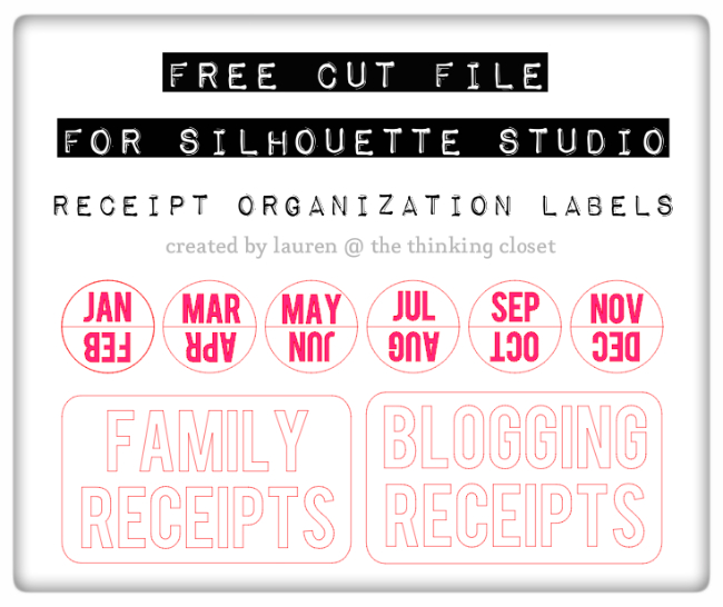 FREE Silhouette Cut FIle for Receipt Organization Tabs & Labels from thinkingcloset.com