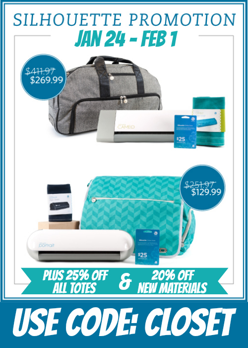 Special Silhouette Promo on machine bundles, travel totes, and new materials! Jan 24 - Feb 1 using the code CLOSET.