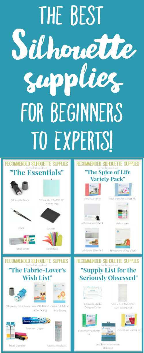 "The Best Silhouette Supplies for Beginners to Experts | Recommended supplies from ""The Essentials"" to ""The Spice of Life Variety Pack"" to ""The Fabric-Lover's Wish List"" to ""Supply List for the Seriously Obsessed."" These supplies are tried and true by a seriously obsessed gal herself! Check 'em out for a more balanced shopping approach as opposed to ""buy all the things!"""
