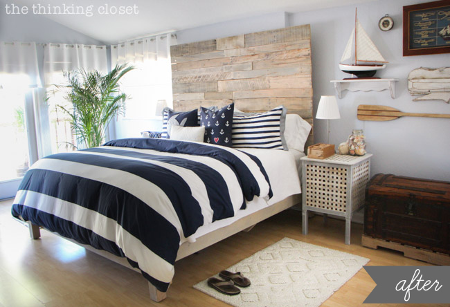 Rustic Nautical Master Bedroom Makeover via thinkingcloset.com