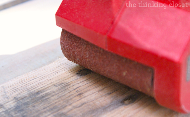 Tips & Tricks for Working with Pallet Wood: Surfacing with a Power Sander via thinkingcloset.com