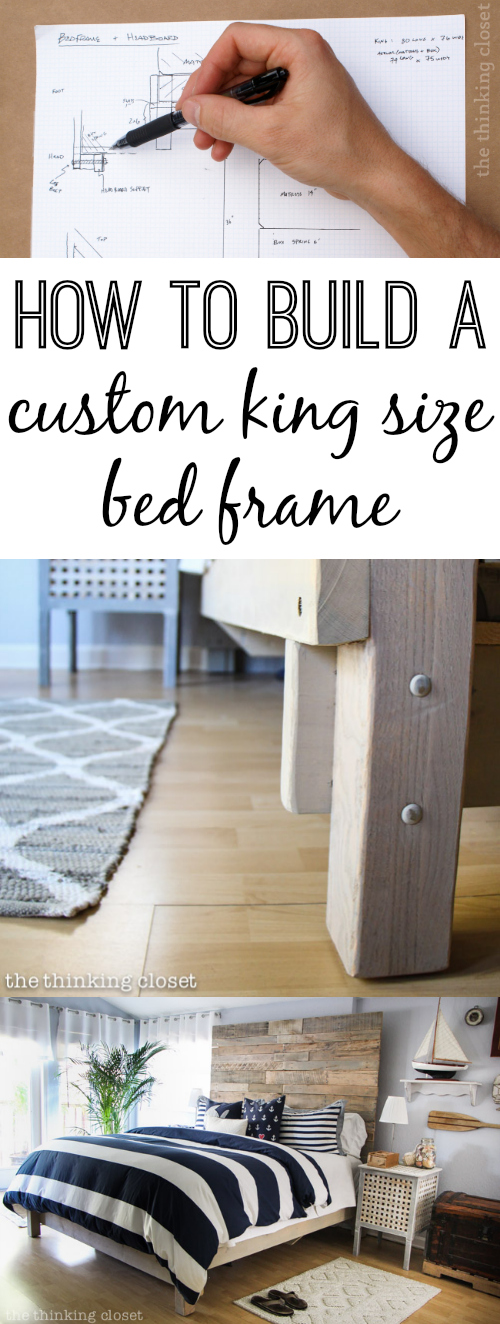 How to Build a Custom King Size Bed Frame via thinkingcloset.com. The supplies only cost $150!