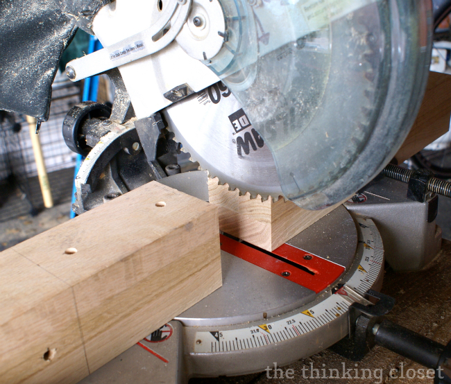 How to Build a Custom King Bed Frame via thinkingcloset.com.  Cutting and drilling.