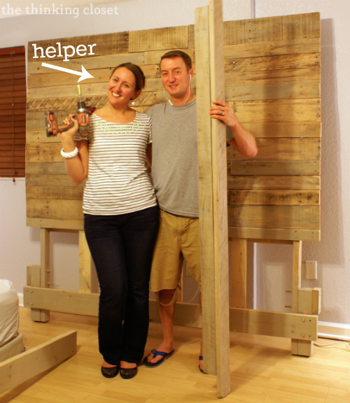 How to Build a Custom King Size Bed Frame via thinkingcloset.com.  Having a helper is key!