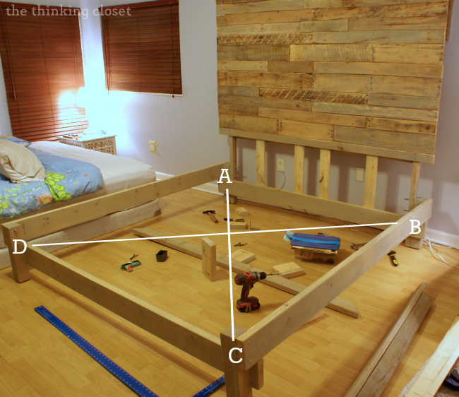 How to Build a Custom King Bed Frame via thinkingcloset.com.  Squaring it up!