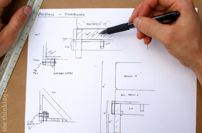 How to Build a Custom King Bed Frame via thinkingcloset.com.  Drawing up the plans!