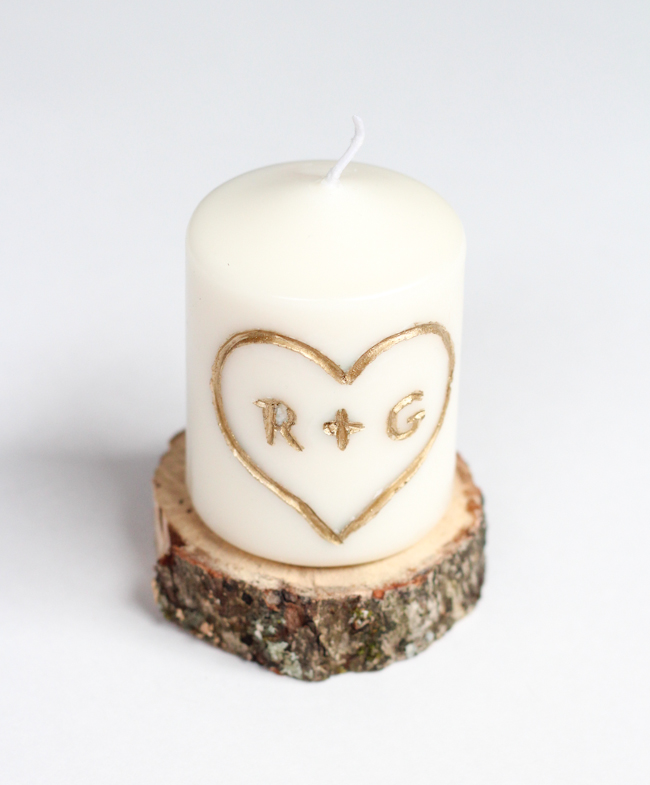 30 last minute diy gifts for your valentine the thinking closet carved initial candle last minute valentines day gift idea solutioingenieria Image collections