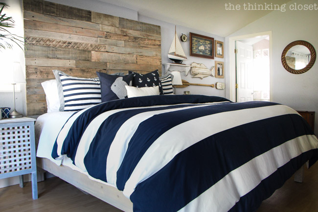 Rustic Nautical Master Bedroom Makeover!  A dramatic before and after via thinkingcloset.com