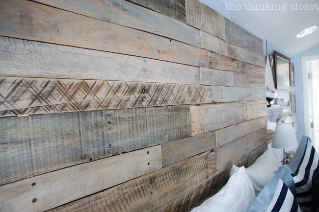 DIY Pallet Headboard! Just one piece in the puzzle of this Rustic Nautical Master Bedroom Makeover! via thinkingcloset.com