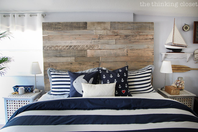 Diy Pallet Headboard Just One Piece In The Puzzle Of This Rustic Nautical Master Bedroom