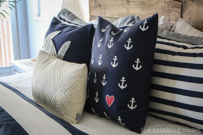 Anchor's Aweigh!  Rustic Nautical Bedroom Makeover!  via thinkingcloset.com