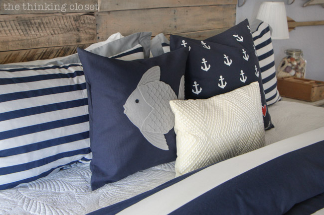 Nautical Felt Fish Pillow & Anchor Pillow - - Full tutorials over at thinkingcloset.com