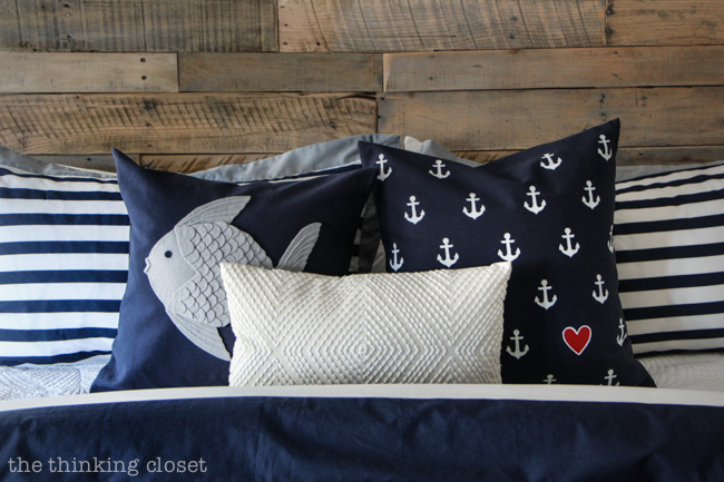 DIY Decorative Pillows for a Rustic Nautical Bedroom via thinkingcloset.com