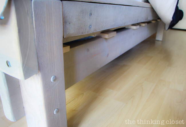 How to Build a Custom King Size Bed Frame via thinkingcloset.com.
