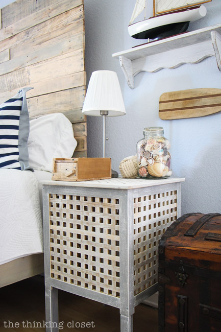 IKEA Hacked HOL Side Tables, part of a Rustic Nautical Master Bedroom Makeover via thinkingcloset.com