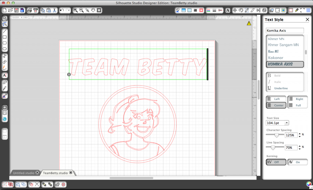 "Adding the ""Team Betty"" text to my design."