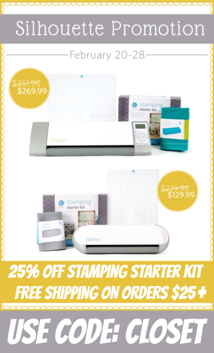 Special SALE on Silhouette Machine Bundles & Stamping Starter Kits. 20% OFF most items & FREE Shipping on orders $25 and up!  Use code CLOSET at checkout.  via thinkingcloset.com