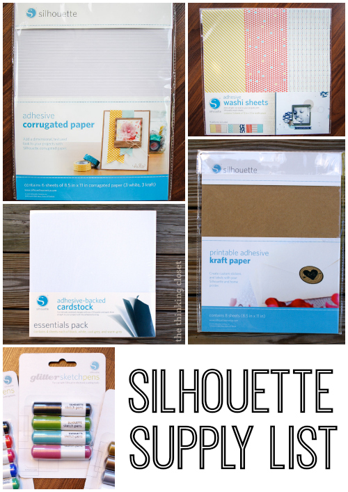 All the fun Silhouette supplies used in this tutorial!