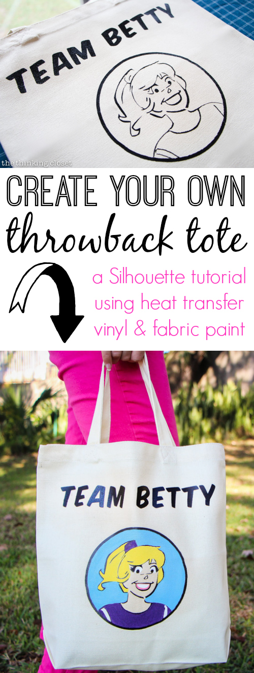 "Create your own ""Team Betty"" Throwback Tote using heat transfer vinyl and fabric paint!  Easy to follow Silhouette tutorial by thinkingcloset.com"