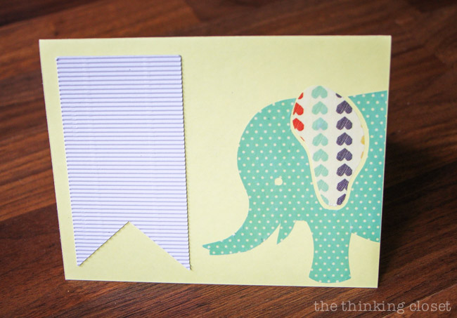 Adding a corrugated banner to my new baby congrats cards!  via thinkingcloset.com