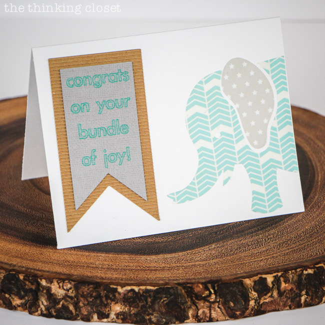 New Baby Congrats Card with Washi Sheets!  Tutorial and FREE Silhouette cut file via thinkingcloset.com
