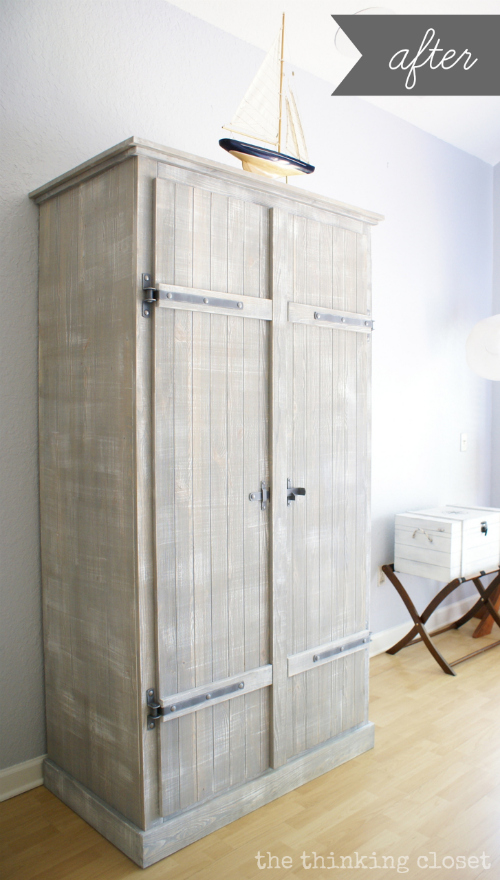 IKEA Hack: Whitewashed Fjell Wardrobe with Pallet Shelves via thinkingcloset.com
