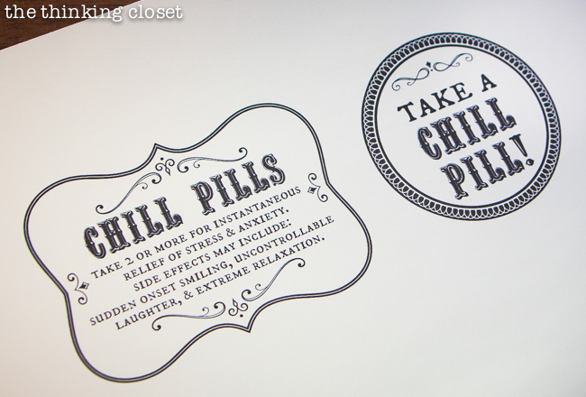 Smart image within chill pill label printable