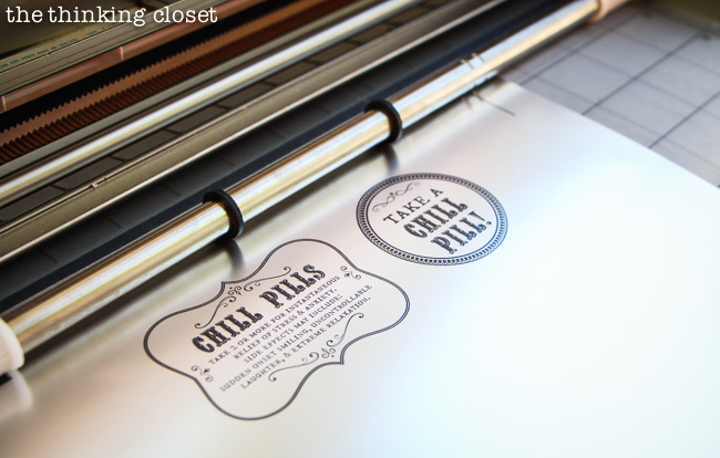 "Time to cut our ""Chill Pill"" bottle labels on our Silhouette machine using registration marks! via thinkingcloset.com"