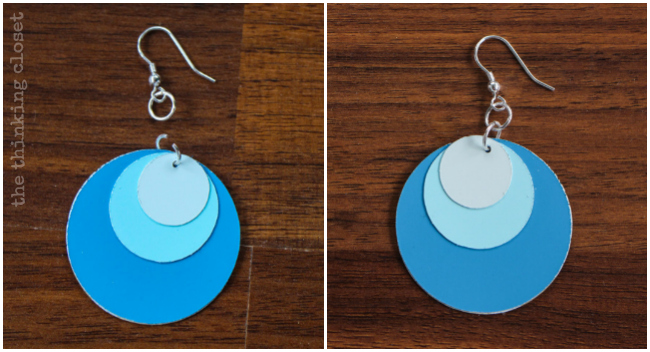 Use pliers to attach your jewelry findings and complete your Ombre Paint Chip Earrings via thinkingcloset.com
