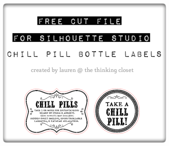 FREE Silhouette Studio Cut File for Chill Pill Bottle Labels.  A fun gag gift idea via thinkingcloset.com!