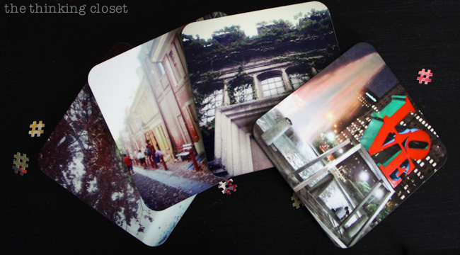 Instagram-Themed Graduation Party {in a box!} via thinkingcloset.com. How precious are these custom photo coasters?