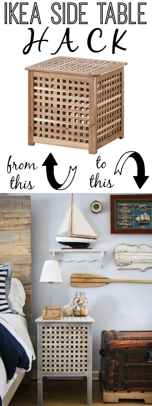 Ikea side table hack such great heights the thinking closet ikea hack hol side tables in a rustic nautical master bedroom makeover via thinkingcloset watchthetrailerfo