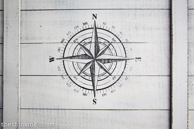 A compass decorates the top of the box via thinkingcloset.com