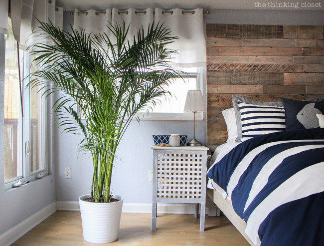 IKEA Hack: Hol Side Tables in a Rustic Nautical Master Bedroom Makeover via thinkingcloset.com