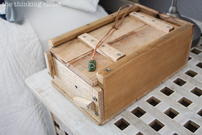 Handmade wooden box to hold precious and practical items via thinkingcloset.com