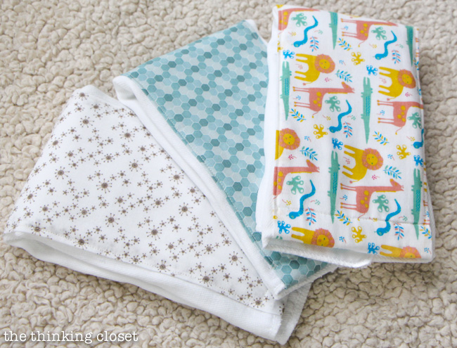 Baby Shower Gift Package: DIY Burp Cloths that any beginner can sew! via thinkingcloset.com