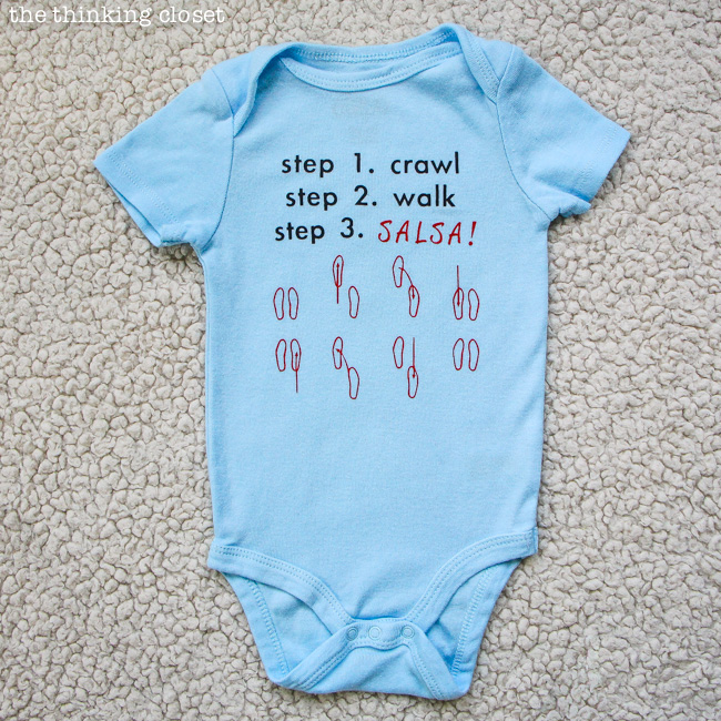 Step 3. Salsa Baby Onesie!  FREE Silhouette cut file via thinkingcloset.com
