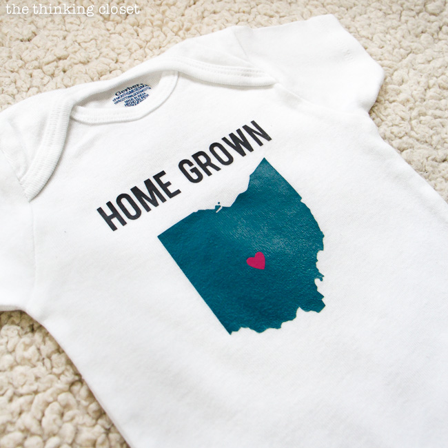 """Home Grown"" Onesie - Super Cute DIY Shower Gift via thinkingcloset.com"