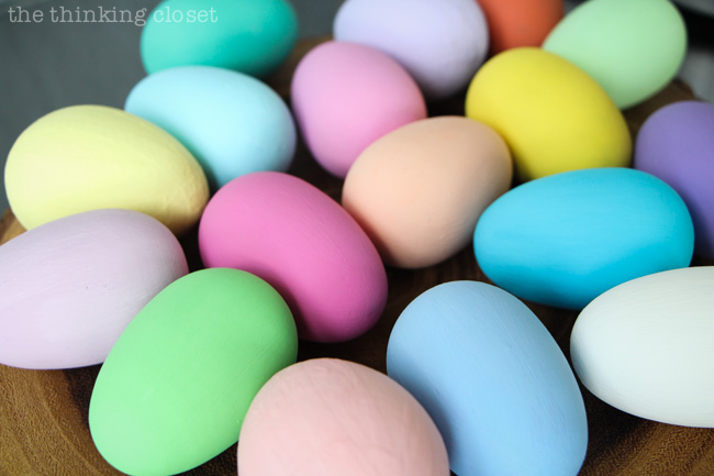 Brightly colored painted eggs, prepped and ready for their bird silhouettes! via thinkingcloset.com