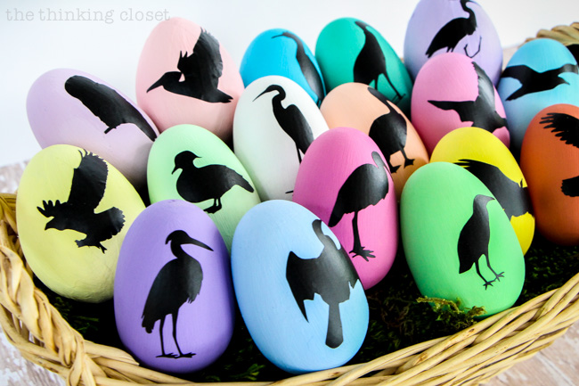 Bird Nerd Easter Eggs & FREE Silhouette Cut File via thinkingcloset.com