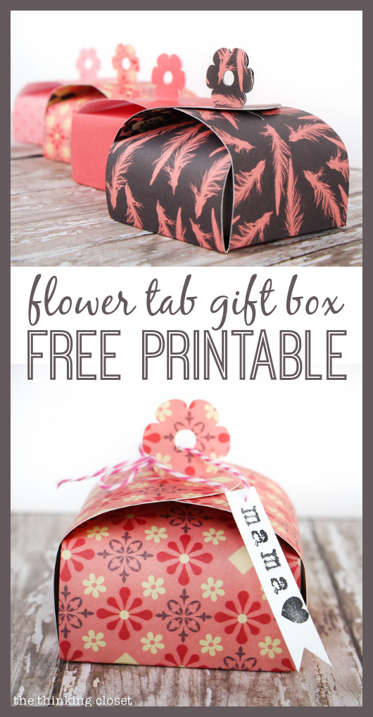Create your own Flower Tab Paper Gift Boxes! Perfect for adding a handmade touch to Mother's Day gifts or birthday party favors. FREE printable template by thinkingcloset.com!
