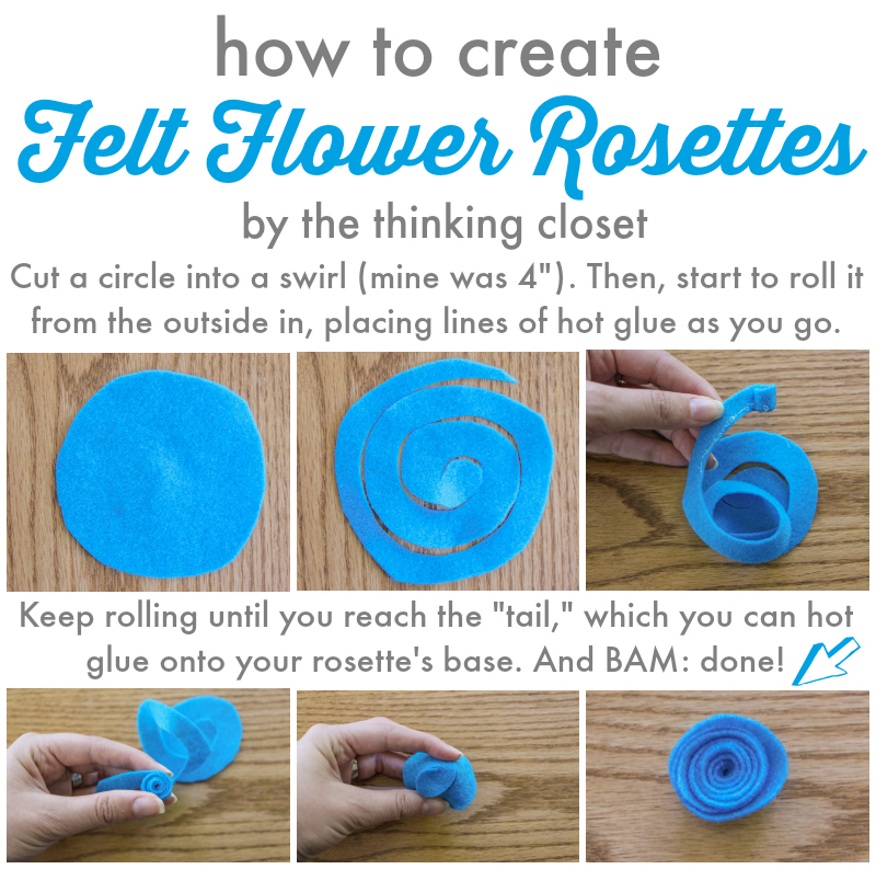 How to Create Felt Flower Rosettes by thinkingcloset.com