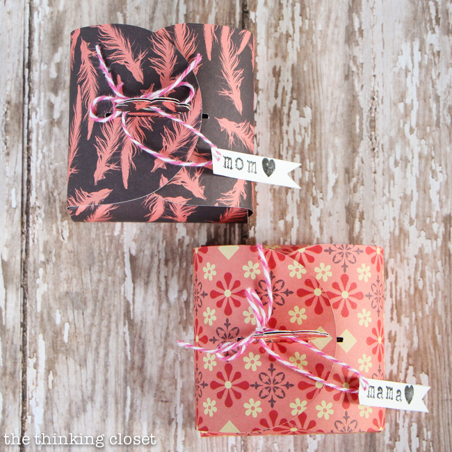 Create your own Flower Tab Gift Boxes out of paper!  Perfect for Mother's Day jewelry.  FREE printable template by thinkingcloset.com