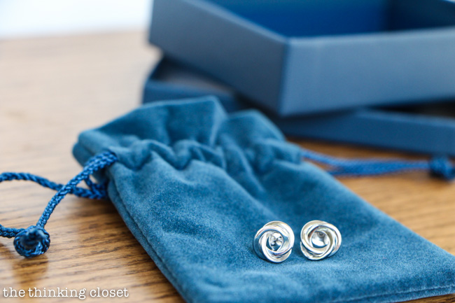 One of my favorite sets of earrings by Blue Nile: flat love knot stud earrings, perfect for Mother's Day via thinkingcloset.com