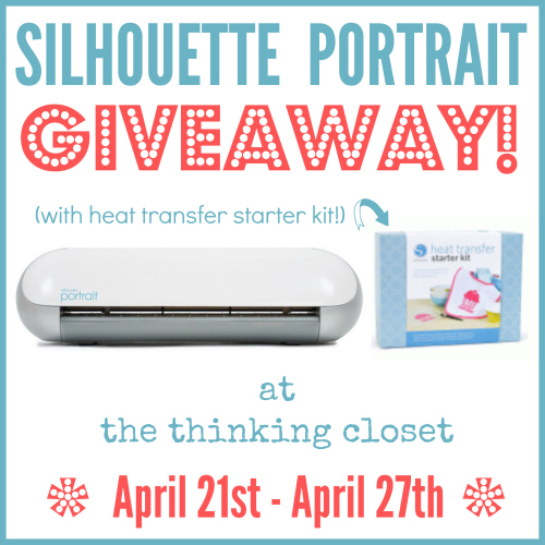 Silhouette Portrait Giveaway (Plus HTV Starter Kit) at thinkingcloset.com April 21 - 27!