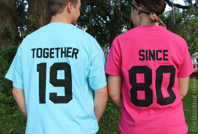 """Together Since"" T-Shirts - Such a great idea for an anniversary or Valentine's Day gift! via thinkingcloset.com"