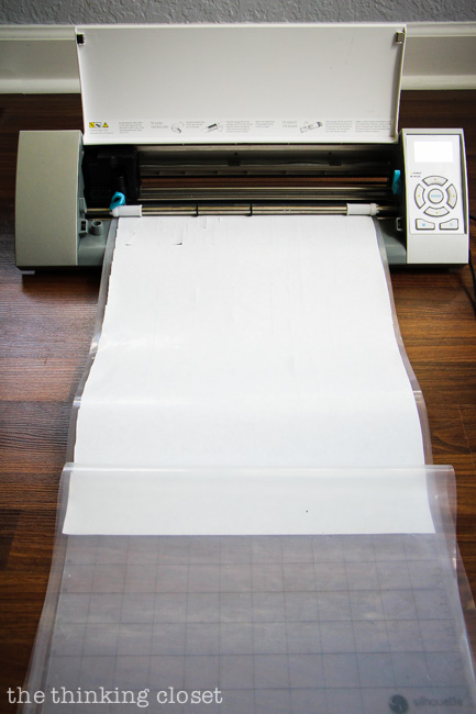 "Cutting a freezer paper stencil on my 12"" x 24"" Silhouette mat via thinkingcloset.com"
