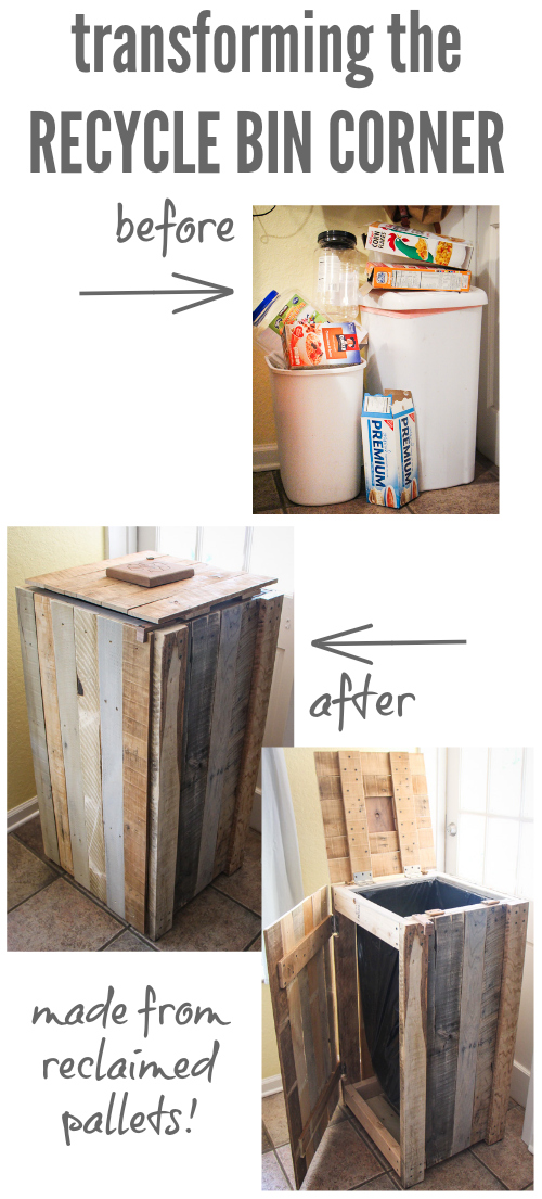 Recycling Pallets into a Rustic Recycle Bin - the thinking closet