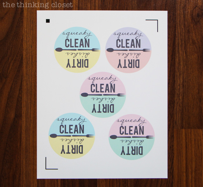 Print Dishwasher Magnets on the Printable Magnet Paper...then prepare to cut them on your Silhouette or with old-fashioned scissors! via thinkingcloset.com